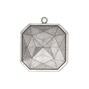 drop, almost instant jewelry, antique silver-plated brass, 25x25mm square with 23x23mm square setting. sold per pkg of 2.