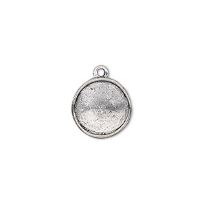 drop, almost instant jewelry, antiqued pewter (tin-based alloy), 14mm round with 12mm rivoli setting. sold individually.