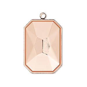 drop, almost instant jewelry, copper-plated brass, 29x21mm rectangle with 27x18.5mm emerald-cut setting. sold per pkg of 2.
