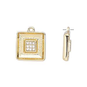 drop, almost instant jewelry, glass rhinestone and gold-plated pewter (zinc-based alloy), clear, 15.5x15.5mm with 14x14mm square ring setting. sold individually.