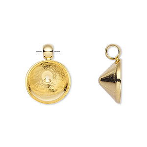 drop, almost instant jewelry, gold-plated brass, 14mm round with ss55 chaton setting. sold per pkg of 4.