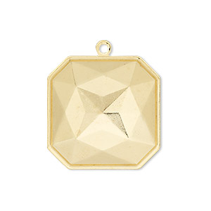 drop, almost instant jewelry, gold-plated brass, 25x25mm square with 23x23mm square setting. sold per pkg of 2.