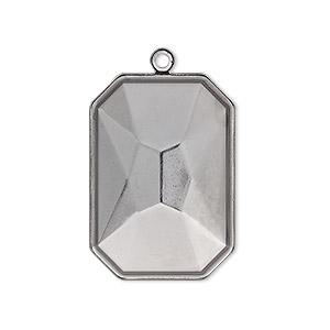 drop, almost instant jewelry, gunmetal-plated brass, 29x21mm rectangle with 27x18.5mm emerald-cut setting. sold per pkg of 2.