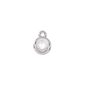 drop, almost instant jewelry, silver-plated pewter (zinc-based alloy), 9mm flat round with ss34 xilion rose setting. sold per pkg of 2.