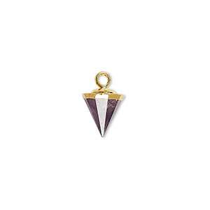 drop, amethyst (natural) / electroplated gold / gold-finished sterling silver, dark, 9x8mm-11x8mm hand-cut faceted cone. sold individually.