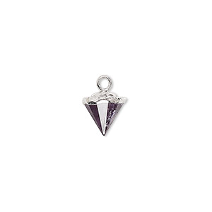 drop, amethyst (natural) / electroplated silver / silver-plated sterling silver, dark, 9x8mm-11x8mm hand-cut faceted cone. sold individually.