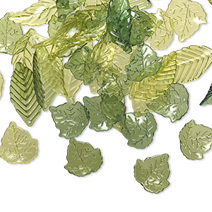 drop and focal mix, acrylic, transparent light green / green / dark green, 24x22mm double-sided round leaf / 36x19mm double-sided folded leaf / 40x14mm double-sided curved leaf. sold per 1/8 pound pkg, approximately 80 pieces.