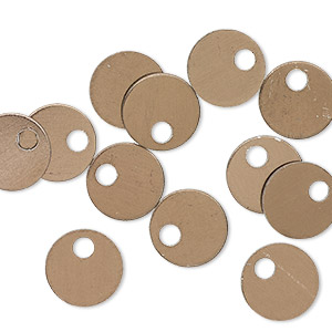drop, anodized aluminum, brown, 9mm double-sided flat round blank with 2mm hole, 20 gauge. sold per pkg of 20.