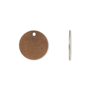 drop, antique copper-plated brass, 15mm flat round. sold per pkg of 50.