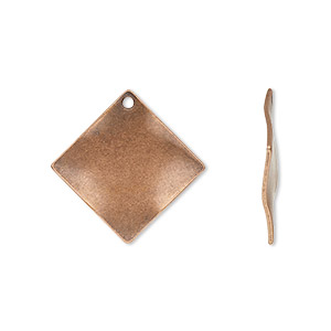 drop, antique copper-plated steel, 20x20mm wavy diamond. sold per pkg of 100.