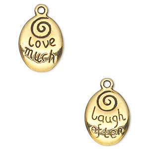 drop, antique gold-finished pewter (zinc-based alloy), 17x13mm two-sided oval with love much and laugh often. sold per pkg of 10.