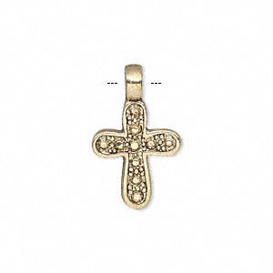 drop, antique gold-finished pewter (zinc-based alloy), 17x14mm single-sided studded cross. sold per pkg of 10.