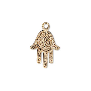 drop, antique gold-finished pewter (zinc-based alloy), 18x14mm single-sided fatima hand. sold per pkg of 10.