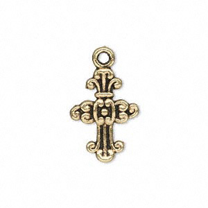 drop, antique gold-finished pewter (zinc-based alloy), 20x14mm single-sided cross. sold per pkg of 20.