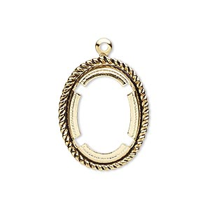 drop, antique gold-plated brass, 24x19mm rope edge oval with 18x13mm oval setting. sold per pkg of 10.