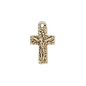 drop, antique gold-plated pewter (tin-based alloy), 19x12.5mm single-sided crucifix. sold individually.