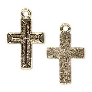 drop, antique gold-plated pewter (tin-based alloy), 24x18mm carved cross. sold per pkg of 4.