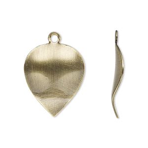 drop, antique gold-plated steel, 23x18mm wavy leaf. sold per pkg of 10.
