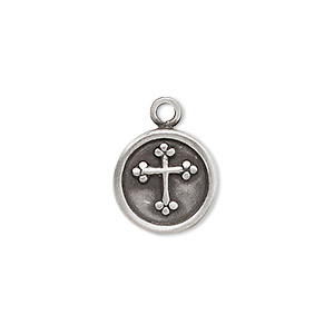 drop, antique pewter (zinc-based alloy), 14mm flat round with cross. sold per pkg of 2.