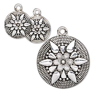 drop, antique silver-finished pewter (zinc-based alloy), 13mm and 25mm flat round with star and flower design. sold per 3-piece set.