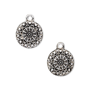 drop, antique silver-finished pewter (zinc-based alloy), 13mm flat round with flower and heart design. sold per pkg of 2.