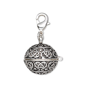 drop, antique silver-finished pewter (zinc-based alloy), 17mm round prayer box with magnetic closure and lobster claw clasp. sold individually.