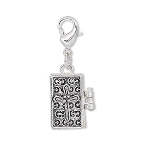 drop, antique silver-finished pewter (zinc-based alloy), 17x10mm rectangle prayer box with cross design and magnetic closure with lobster claw clasp. sold individually.