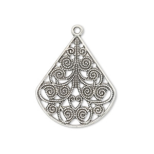 drop, antique silver-plated brass, 26x23mm filigree teardrop. sold per pkg of 10.