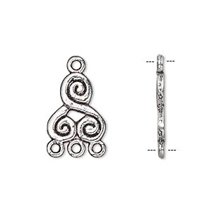 drop, antique silver-plated pewter (zinc-based alloy), 14x12mm double-sided 3-spiral with 3 loops. sold per pkg of 10.