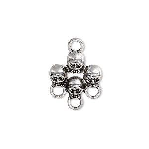 drop, antique silver-plated pewter (zinc-based alloy), 17x16mm single-sided skulls with 3 loops. sold per pkg of 6.