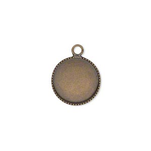 drop, antiqued brass, 14mm round with beaded edge and 13mm round bezel cup setting. sold per pkg of 6.