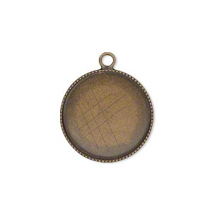 drop, antiqued brass, 19mm round with beaded edge and 18mm round bezel cup setting. sold per pkg of 6.