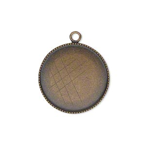 drop, antiqued brass, 21mm round with beaded edge and 20mm round bezel cup setting. sold per pkg of 2.