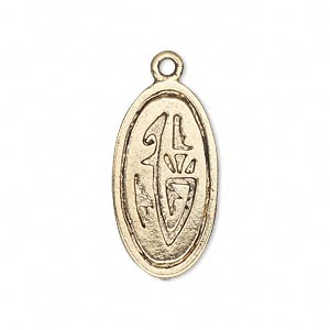 drop, antiqued gold-finished pewter (zinc-based alloy), 26x14mm single-sided fancy oval. sold per pkg of 10.