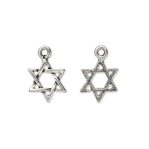 drop, antiqued pewter (tin-based alloy), 13x11mm star of david. sold per pkg of 4.