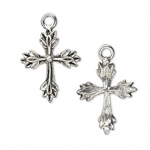 drop, antiqued pewter (tin-based alloy), 22x17mm cross with leaf design. sold per pkg of 4.