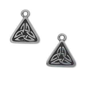 drop, antiqued pewter (zinc-based alloy), 15x15x15mm triangle with celtic knot. sold per pkg of 2.