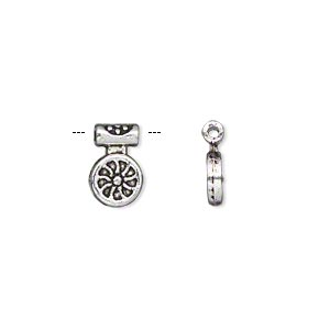 drop, antiqued silver-finished pewter (zinc-based alloy), 7mm single-sided spoked wheel. sold per pkg of 50.