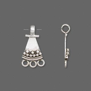 drop, antiqued sterling silver, 12x10mm triangle with 3 loops. sold per pkg of 2.