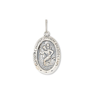 drop, antiqued sterling silver, 18x13mm single-sided oval medal with st. christopher. sold individually.