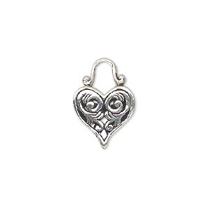 drop, antiqued sterling silver, 19x13mm heart with scroll design. sold individually.