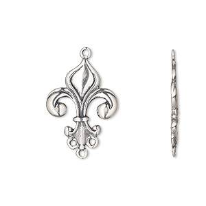 drop, antiqued sterling silver, 19x15mm fleur-de-lis with 3 loops. sold individually.