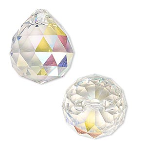 drop, asfour crystal, crystal, clear ab, 23x20mm faceted teardrop. sold per pkg of 5.