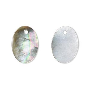 drop, black lip shell (natural), 18x13mm oval, mohs hardness 3-1/2. sold per pkg of 2.