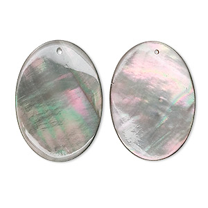 drop, black lip shell (natural), 25x18mm oval. sold per pkg of 2.
