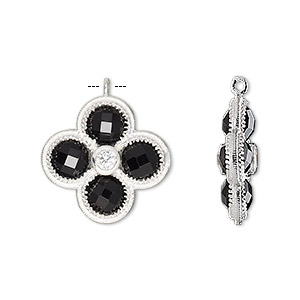 drop, black onyx (dyed) / cubic zirconia / sterling silver, clear, 19mm double-sided faceted flower. sold individually.