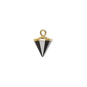 drop, black onyx (dyed) / electroplated gold / gold-finished sterling silver, 9x8mm-11x8mm hand-cut faceted cone. sold individually.