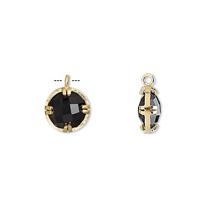 drop, black onyx (dyed) and gold-finished sterling silver, 10mm double-sided faceted round. sold individually.