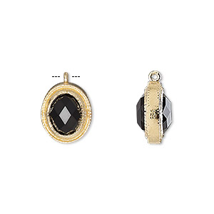 drop, black onyx (dyed) and gold-finished sterling silver, 13x11mm double-sided faceted oval. sold individually.