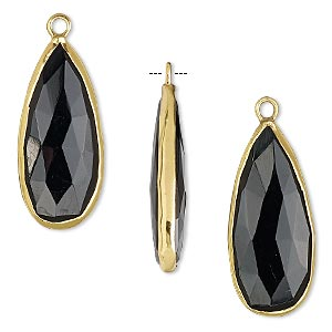 drop, black onyx (dyed) and gold-finished sterling silver, 27x12mm double-sided faceted teardrop. sold per pkg of 2.